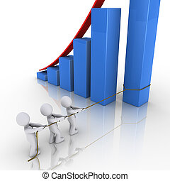Business team putting in place column of rising graph - 3d...