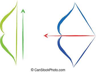 bow and arrow - vector bow and arrow set