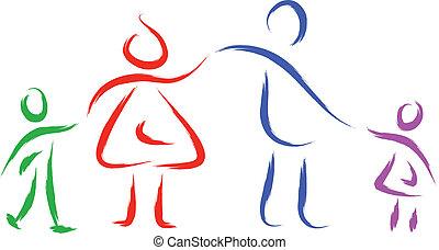 family illustration - sketch illustration of family holding...