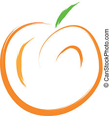 peach - sketch of orange peach fruit