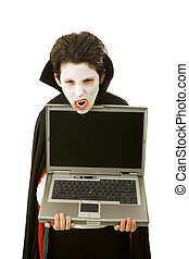 Halloween Vampire with Message - Boy dressed as a vampire...