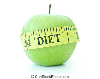 Diet - Tape measure labelled with the word diet wrapped...
