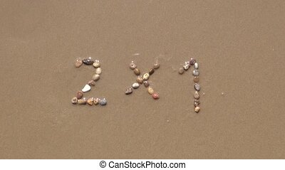 2x1 on sand beach - 2x1 discount word writing with small...