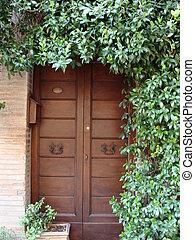 puerta, adornado, verde