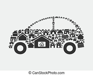 House the car - The car made of houses A vector illustration...