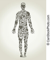 Parts body the person - The person made of body parts A...