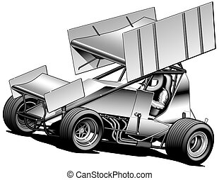 SPRINT CAR - Black Line & Airbrush Illustration