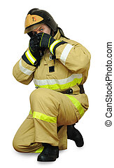Fireman covers his face