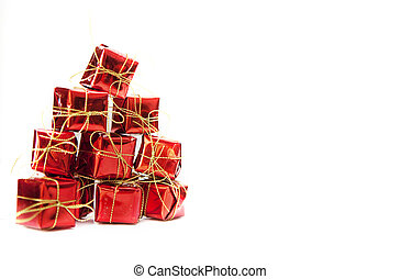 Christmas boxes on the white background