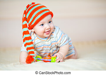 cute crawling baby boy indoors - cute crawling baby boy...