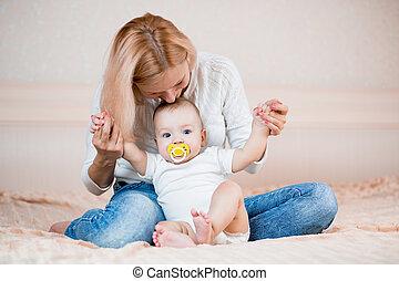 嬰孩, 男孩, 玩, 母親
