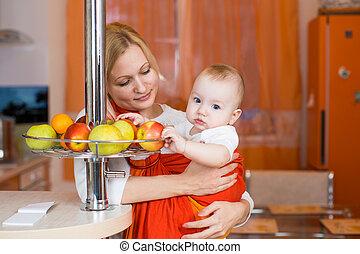 Menino, comer, saudável, alimento, criança, cozinha