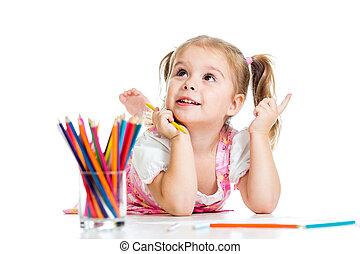 鉛筆, 女の子, 夢のようである, 子供