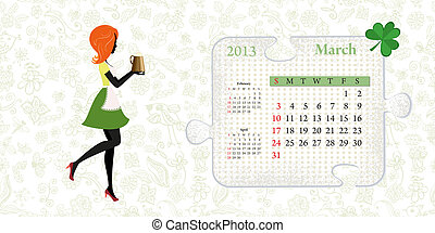 Calendar for 2013, march