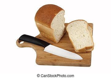 biały, bread, nóż