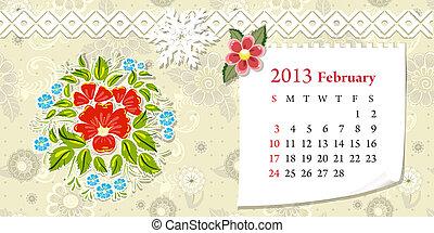 カレンダー, 2013, 2 月