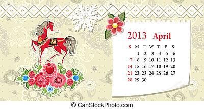Calendar for 2013, april