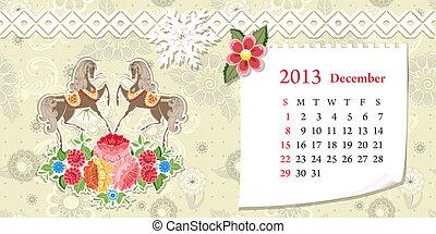Calendar for 2013, december