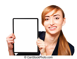 Young woman showing a tablet PC.