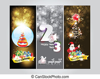abstract christmas and newyear banner - abstract christmas...