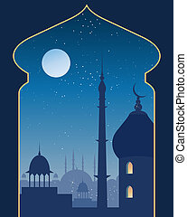 islamic scene - an illustration of an islamic urban scene...