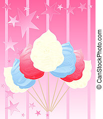 cotton candy america - an illustration of red white and blue...