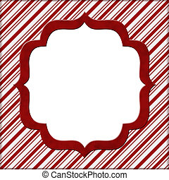 Christmas Candy Cane Striped background for your message or invitation with copy-space in middle