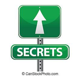 secrets street sign illustration design over white