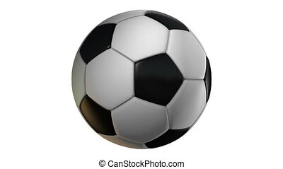 Soccer Ball, Rotation on white background