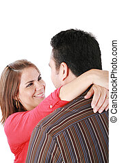 Portrait of happy couple embracing with love