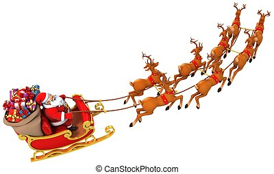 santa sledge deers - 3d illustration of santa sledge deers
