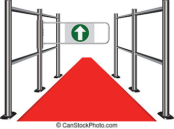 Red carpet between the commercial turnstile Vector...