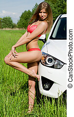 The sexual girl in pink bikini with white car - The sexual...