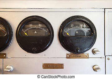 German world war 2 submarine - gauges in electric engine room