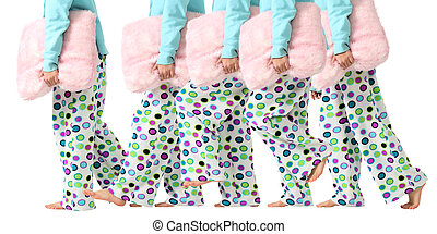Going to bed for sweet dreams - A young girl in pajamas goes...