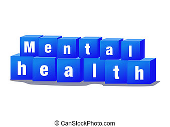 Mental health concept blue bricks with text