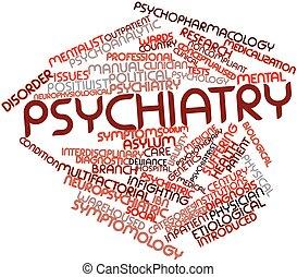 palabra, nube, psiquiatría