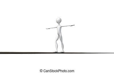 cuerda de equilibrista, paseante