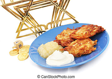 Latkes Menorah Dreidel and Gelt for Hanukkah - Plate of...