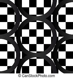 Seamless pattern of crazy b&w geometrics - Seamless pattern...
