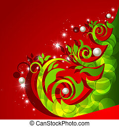 Greeting card with abstract christmas tree