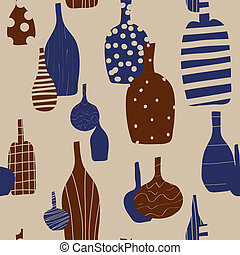 Wine bottles seamless background with silhouettes