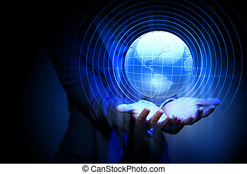 global business network - Blue global technology background...