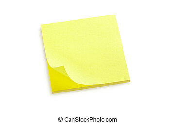 Yellow sticky note on white