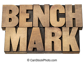 benchmark word - benchmark - isolated word in vintage...