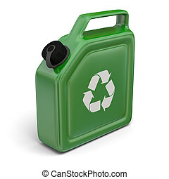 Jerry can with recycling sign - 3D illustration of green...