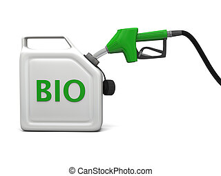 Jerry can with bio fuel - 3D illustration of filling jerry...