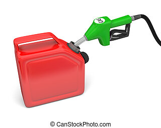 Filling with gas - Illustration of green fuel pump nozzle...