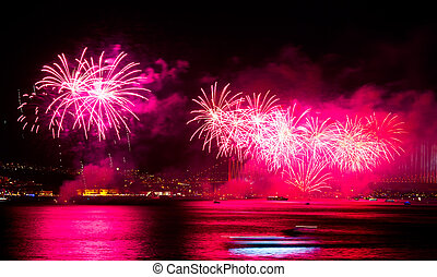 Fireworks - ISTANBUL - OCTOBER 29: Fireworks over Bosphorus...