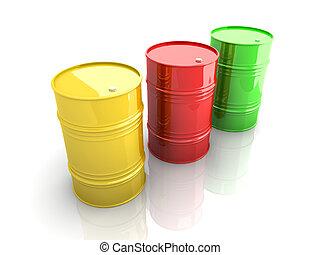 Industrial Barrels - Three industrial barrels. 3D rendered...